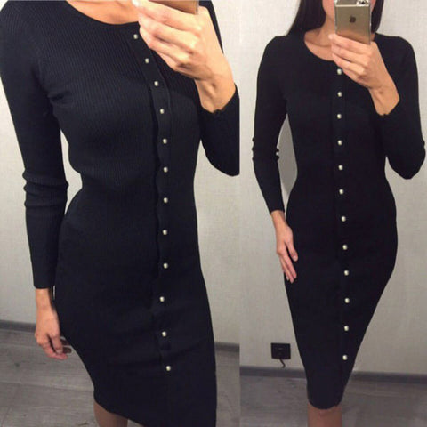 Womens Midi Warm Knitted Mid-calf O-neck Package Hip Sheath Bodycon Dress