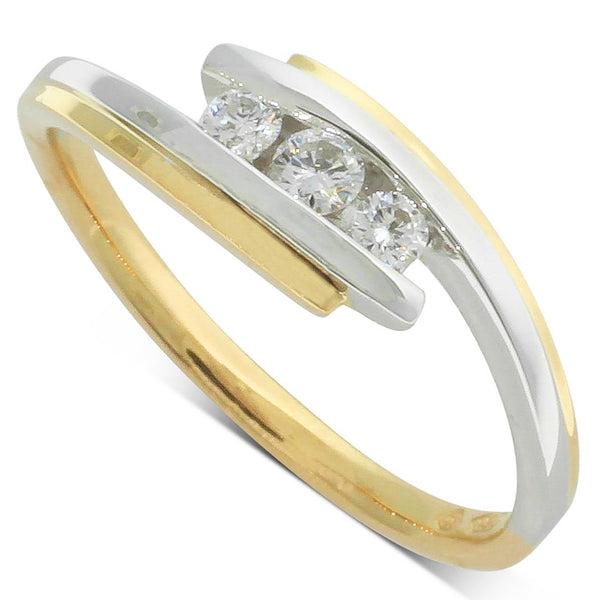 18ct White Gold And 18ct Yellow Gold .15ct Diamond Trilogy Ring - Walker & Hall