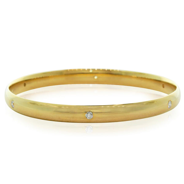 9ct Yellow Gold .66ct Diamond Set Bangle - Walker & Hall