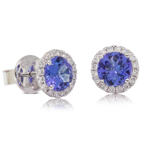 18ct White Gold 1.58ct Tanzanite & Diamond Halo Earrings - Walker & Hall
