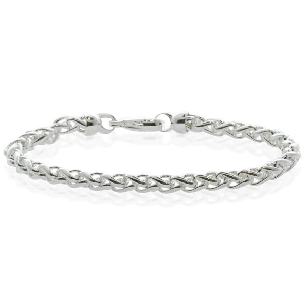 Sterling Silver Wheat Link Chain Bracelet - Walker & Hall