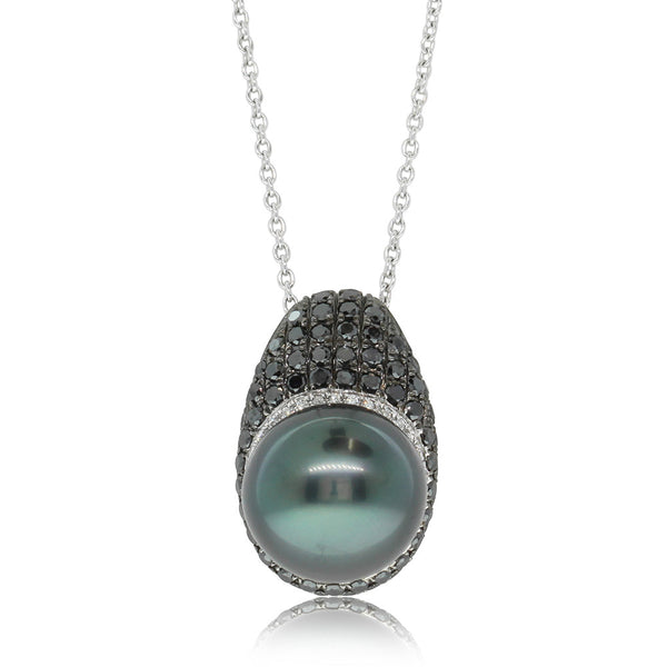 18ct White Gold Tahitian Pearl & Black Diamond Pendant - Walker & Hall