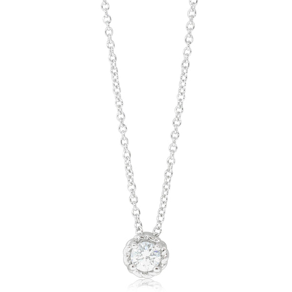 18ct White Gold .25ct Diamond Solitaire Pendant - Walker & Hall