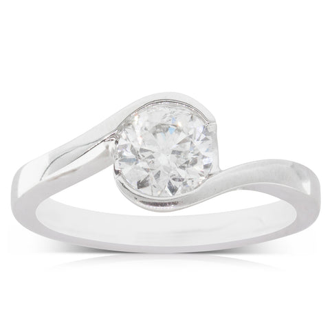 18ct White Gold 1.00ct Diamond Embrace Ring - Walker & Hall