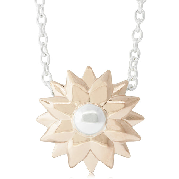 Rose Gold Plated & Sterling Silver Dahlia Pendant - Walker & Hall