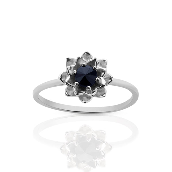 Meadowlark Protea Stacker Ring With Gemstone - Midnight Sapphire & Sterling Silver - Walker & Hall