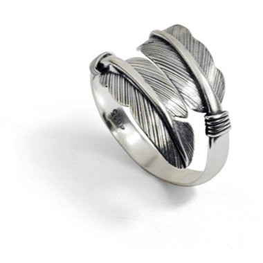 S925 Feather Adjustable Ring - ShopApes