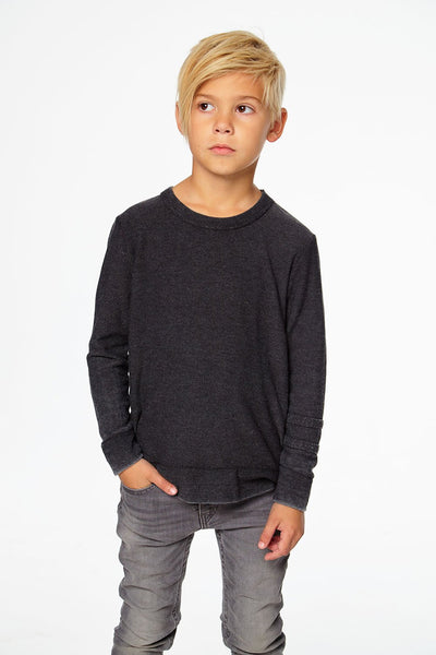 Chaser Black Pullover with Strappings Crew Neck
