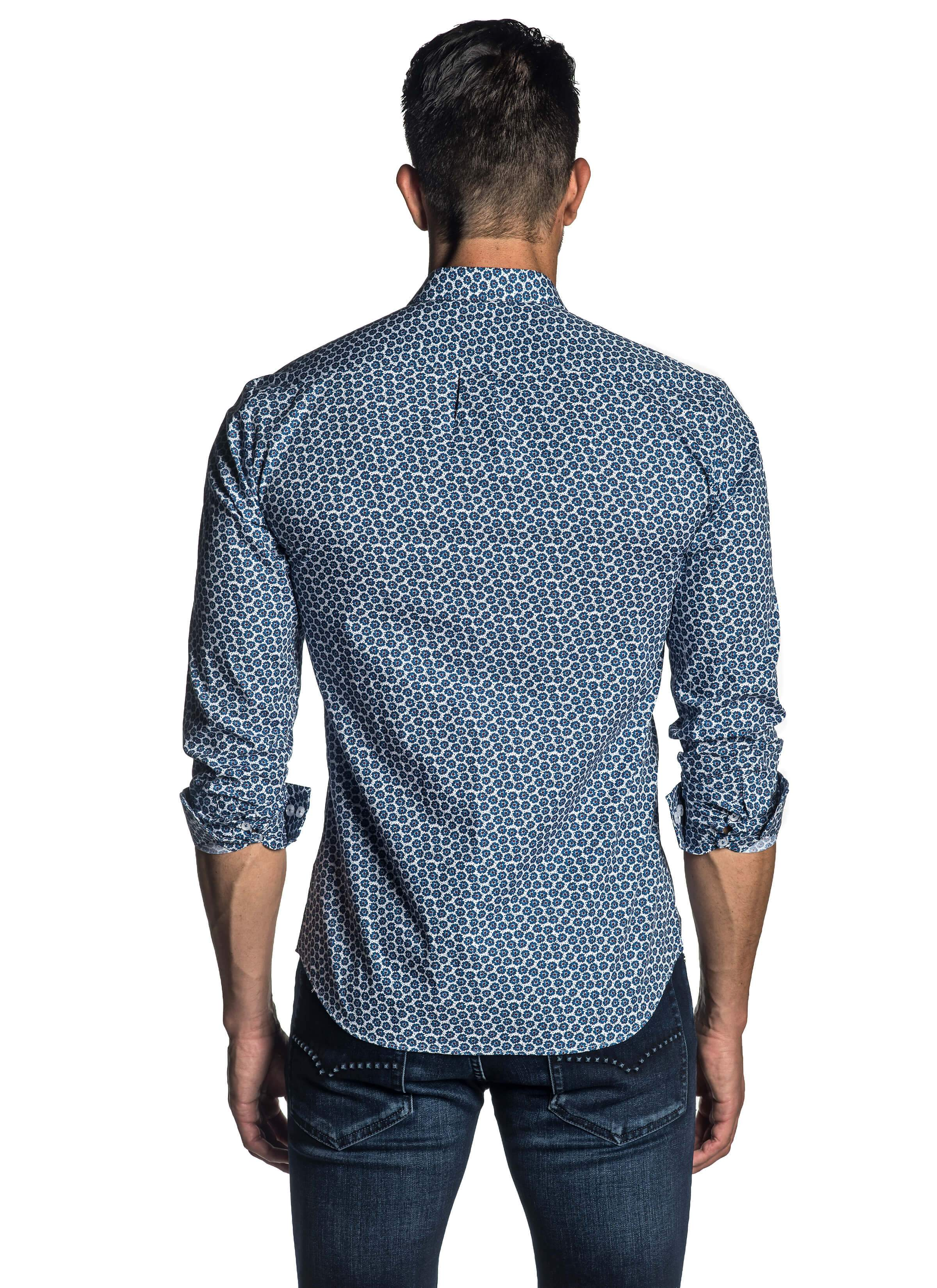 White and Blue Floral Shirt for Men - back AH-T-7053 - Jared Lang