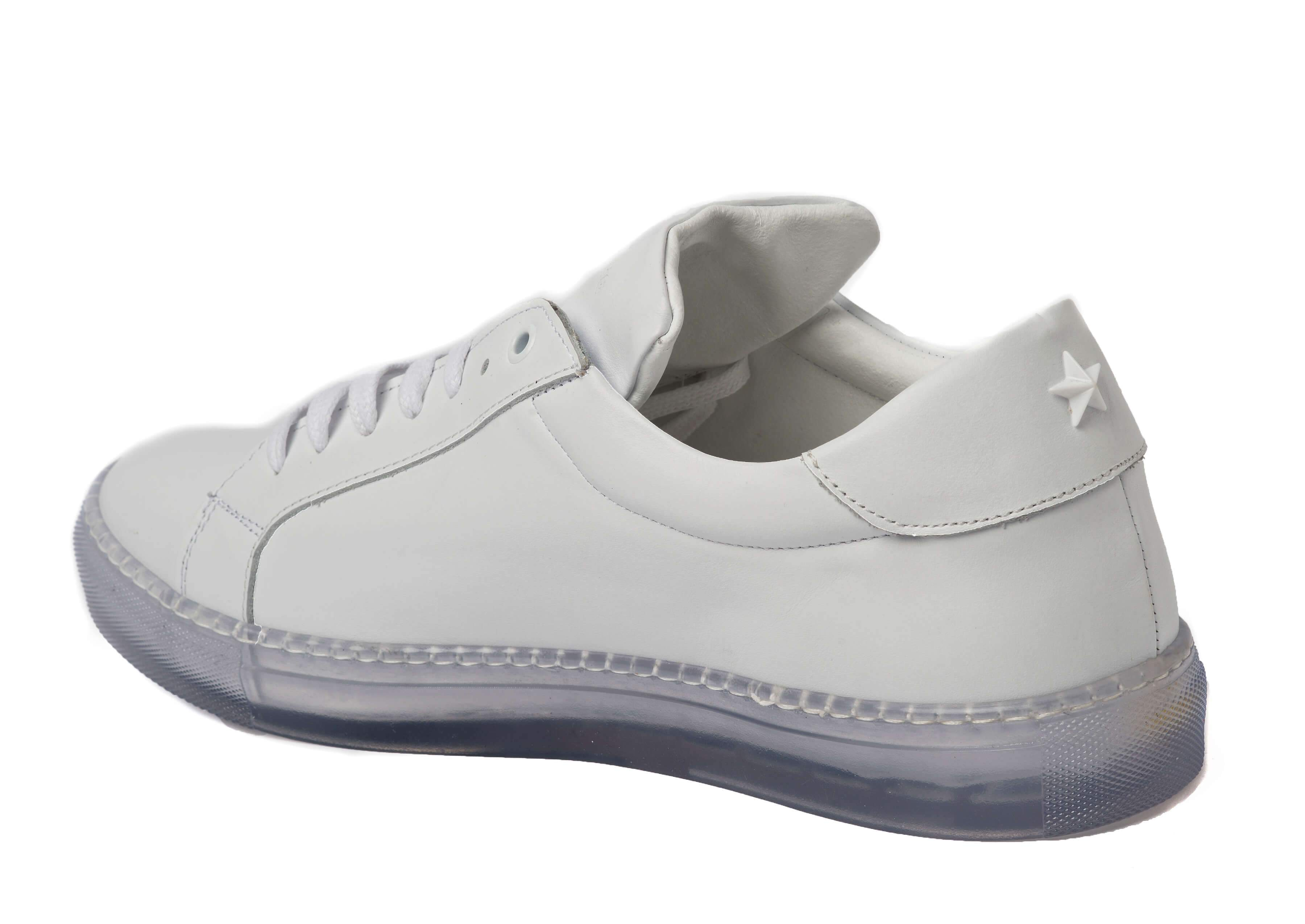 White Clear Sole Sneakers for Men - Left 1818-CRW - Jared Lang
