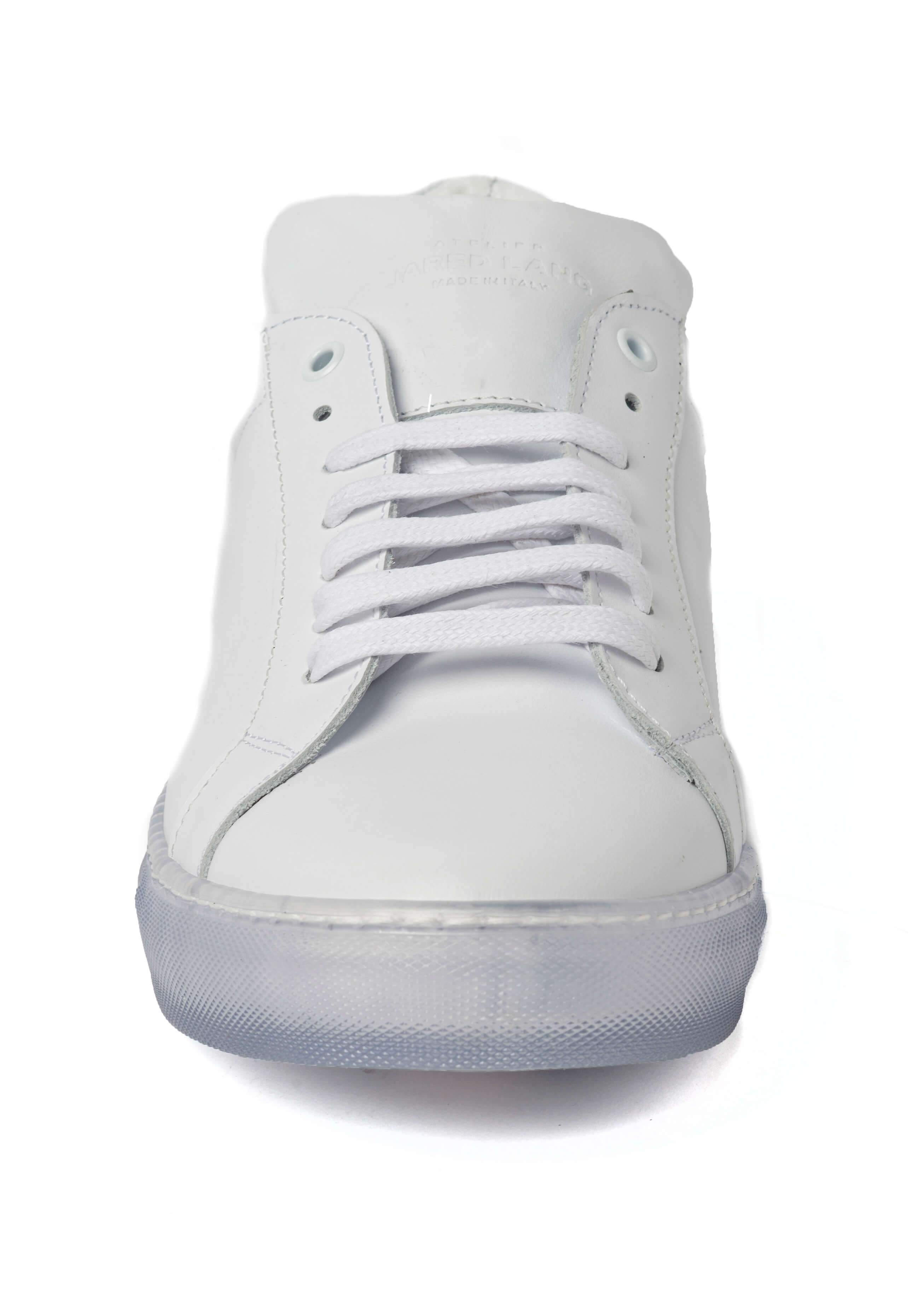 White Clear Sole Sneakers for Men - Front 1818-CRW - Jared Lang
