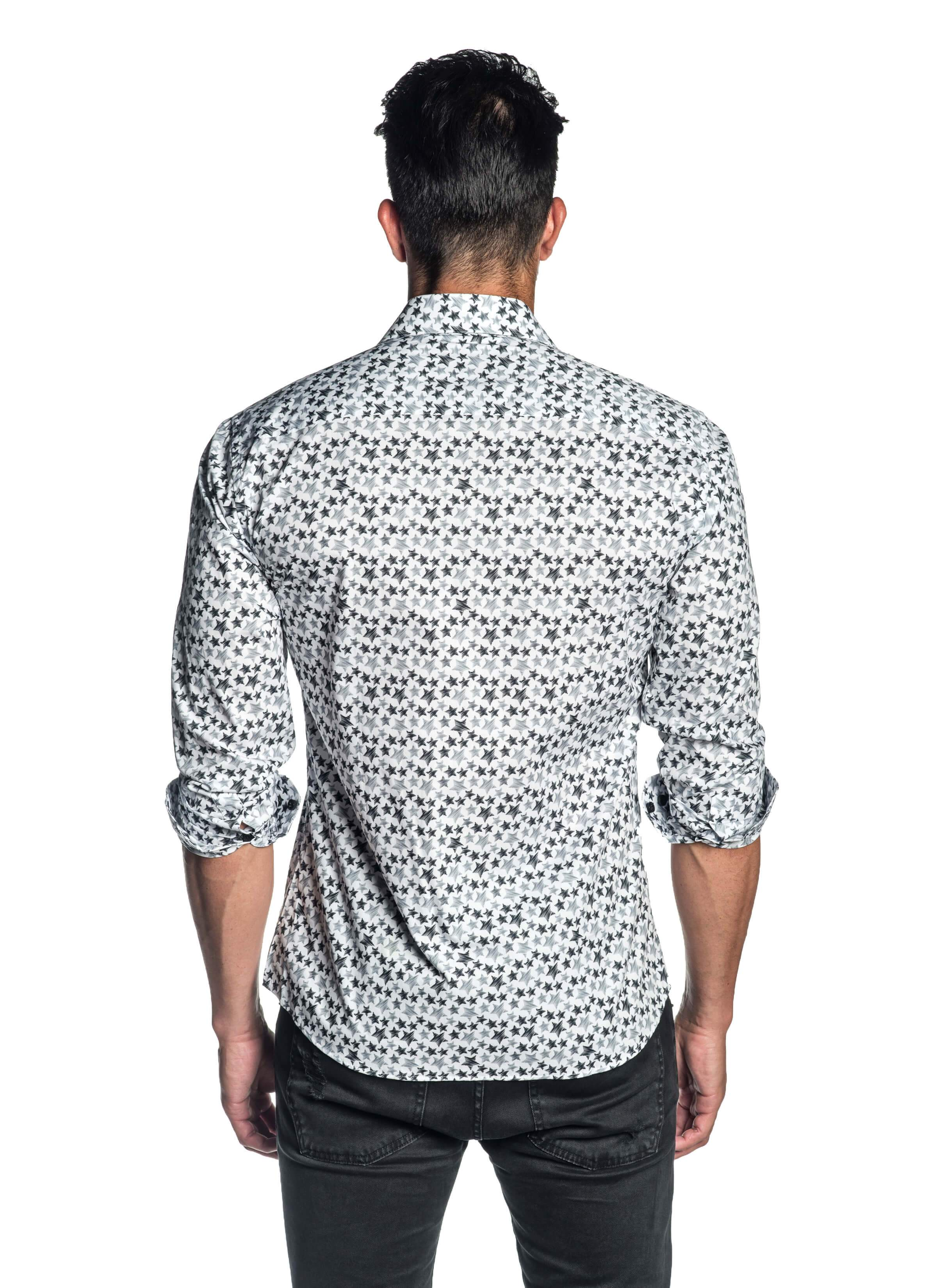 White Star Printed Shirt for Men - Back - T-518 - Jared Lang Collection