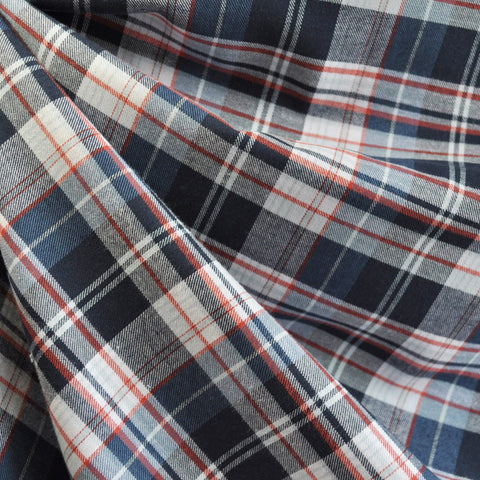 Indigo Plaid Shirting Blue/Red
