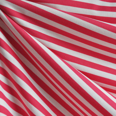 Ponte Knit Awning Stripe Pink/White