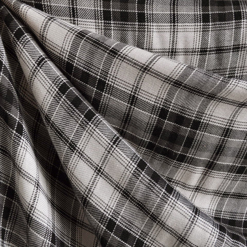 Plaid Rayon Shirting Cream/Black
