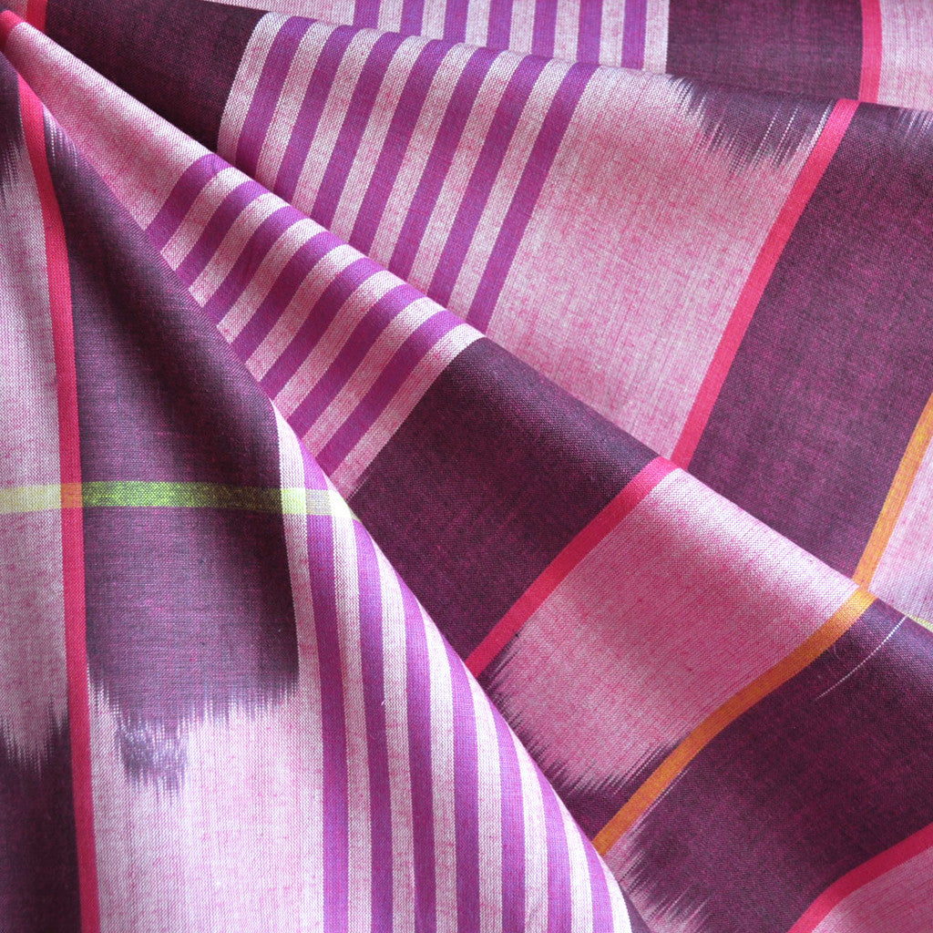 Loominous Shirting Ikat Stripe Berry - Fabric - Style Maker Fabrics