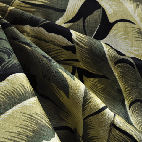 On the Lanai Barkcloth Floral Leaves Olive