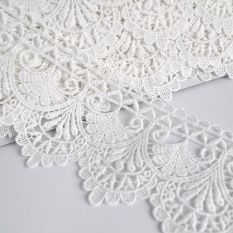 Deco Fan Venise Lace Trim Ivory 3-1/2 inch