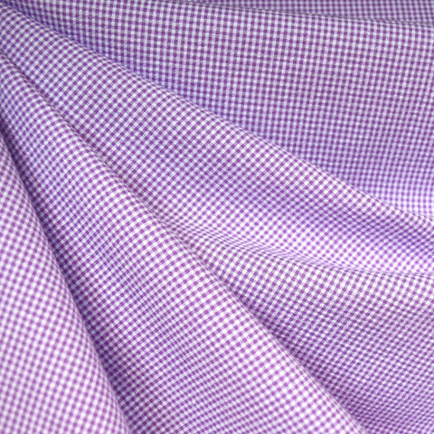 Tiny Gingham Seersucker Shirting Lavender