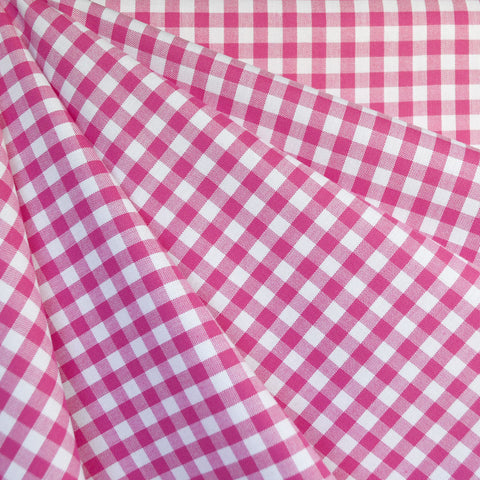 Mini Carolina Gingham Shirting Fuchsia/White