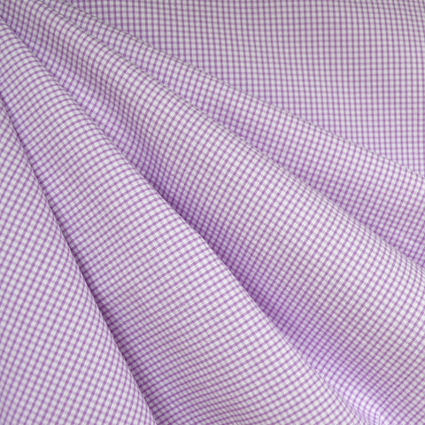Mini Gingham Check Shirting Lavender/White