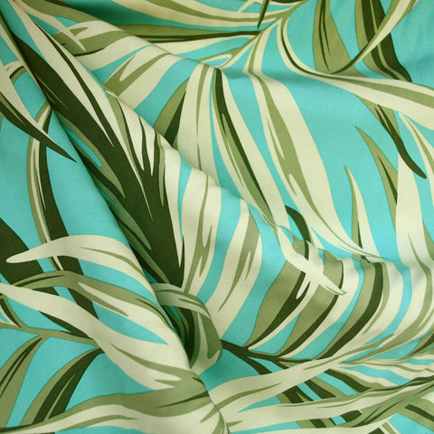 Tropical Leaves Rayon Shirting Aqua