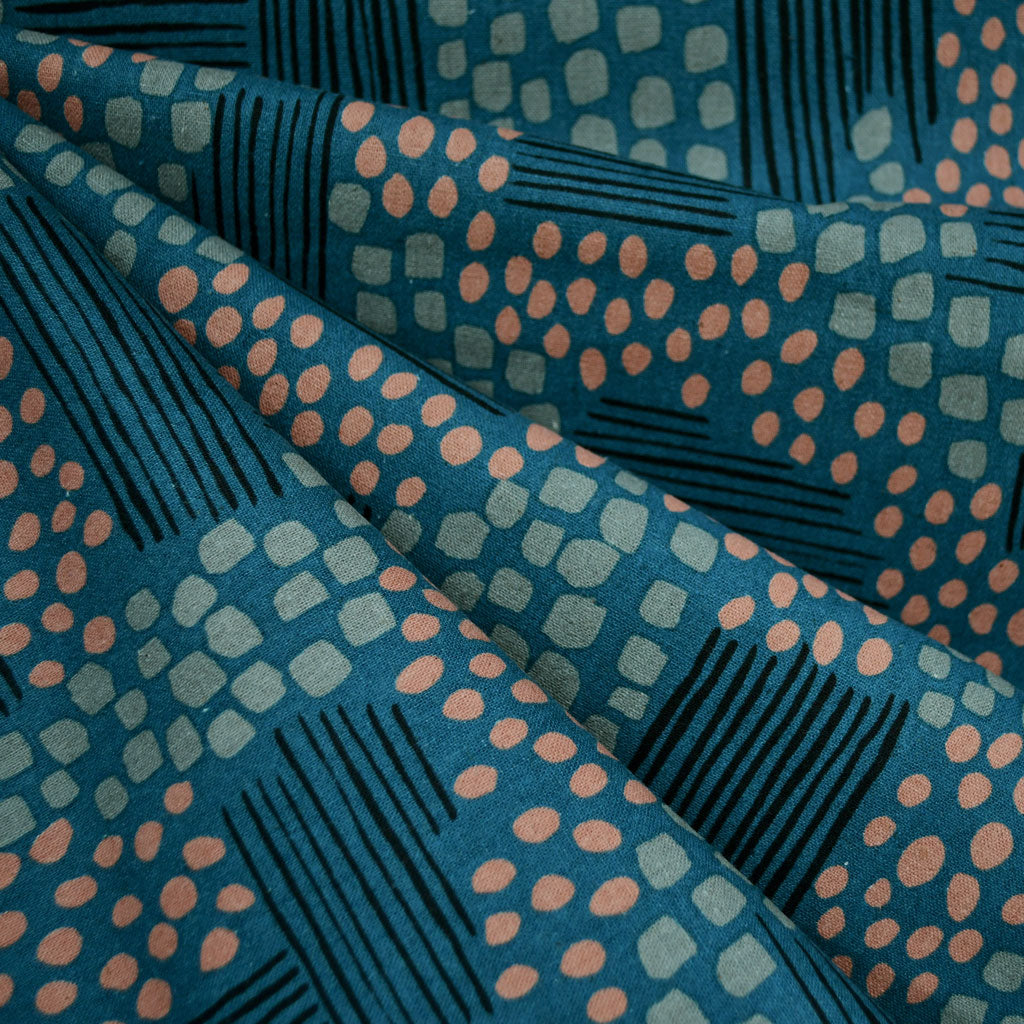 Imagined Landscapes Aerial View Linen Blend Teal - Fabric - Style Maker Fabrics