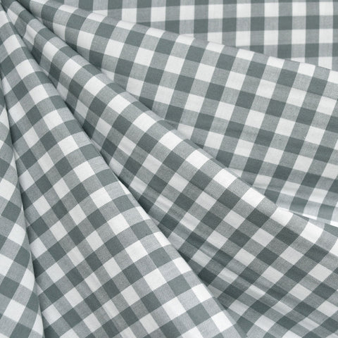 Classic Gingham Mini Check Shirting Shale