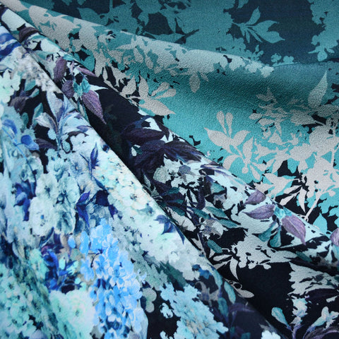 Designer Hydrangea Floral Rayon Crepe Panel Teal