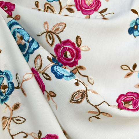 Rose Floral Embroidered Rayon Lawn Cream/Fuchsia