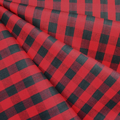 Oxford Check Shirting Red/Charcoal