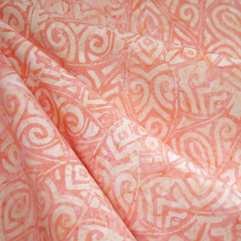 Tribal Leaf Rayon Batik Soft Coral