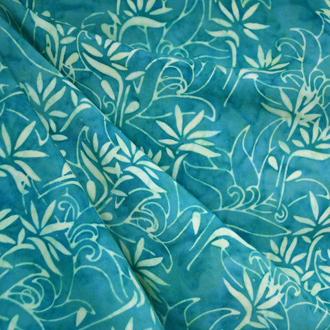Bamboo Scroll Rayon Batik Teal