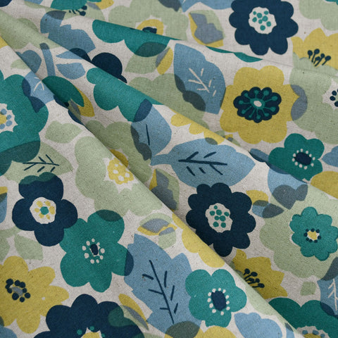 Japanese Layered Floral Canvas Teal/Citron
