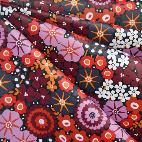 Modern Floral Laminated Cotton Red/Lavender