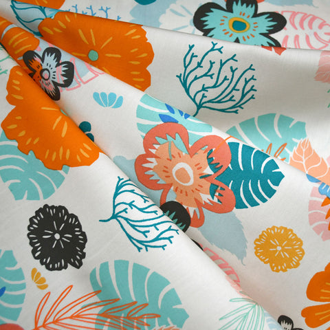 Ocean Floral Pima Cotton Cream/Tangerine