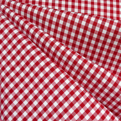 Summer Gingham Stretch Cotton Shirting Red/White