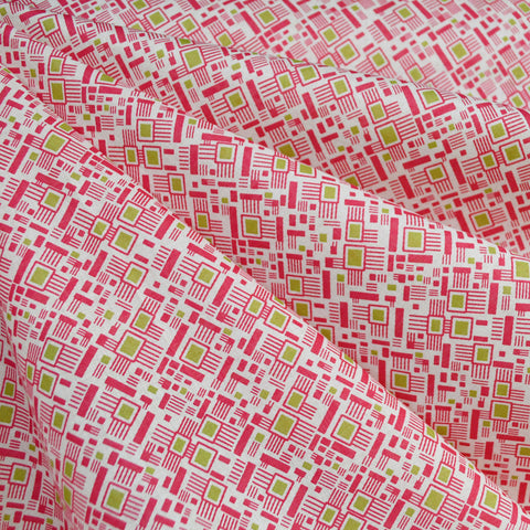 Colorful Mosaic Cotton Lawn Fuchsia/Lime