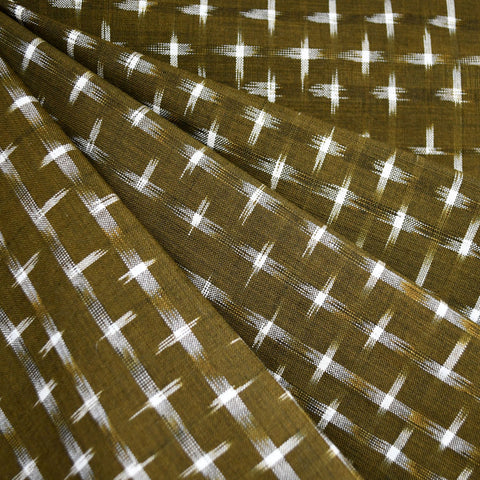Double Ikat Shirting Olive/Vanilla