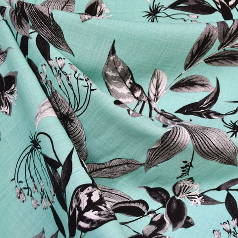 Tropical Leaves Slub Rayon Shirting Aqua/Black