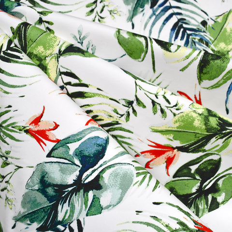 Tropical Foliage Stretch Sateen Cream/Green