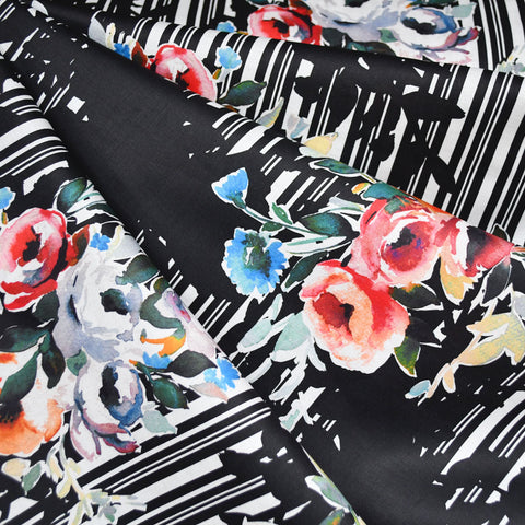 Japanese Watercolor Floral Digital Mix Print Cotton Lawn Black