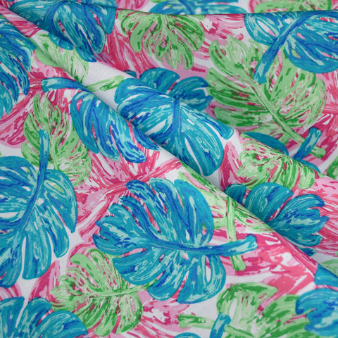 West Palm Leaf Collage Pima Cotton Aqua/Pink