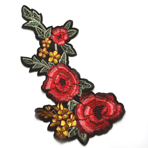 Iron-On Floral Felt Applique Coral/Gold
