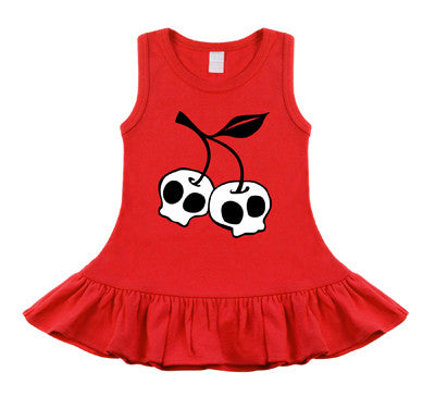Cherry Skull Red Sleeveless Dress