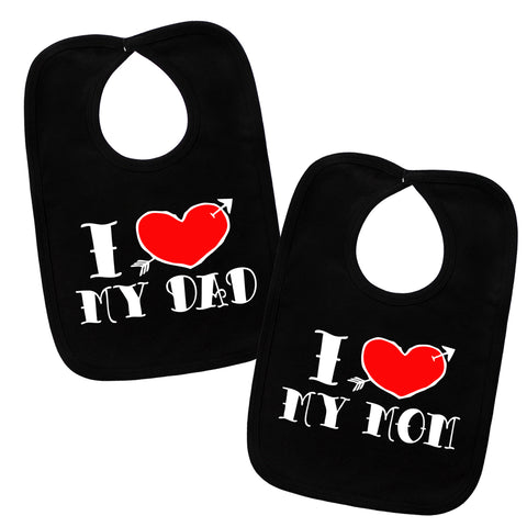 I Love My Mom & Dad Tattoo 2 Bib Gift Set