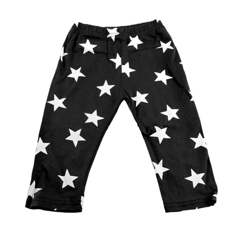 Dark Charcoal & White Star Baby Leggings