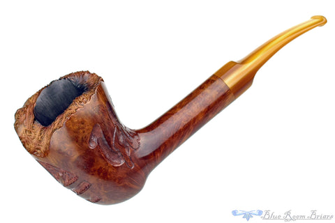 Yorkshire Standard 1/4 Bent Partial Carved Stack Oval Shank Billiard Estate Pipe