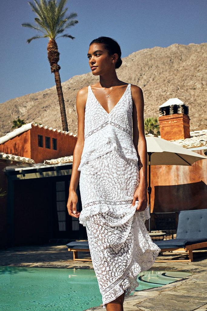 Helia Lace Maxi in White
