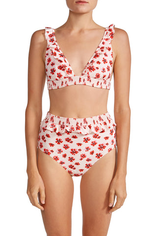 High Waist Ruffle Bikini Bottom in Pink Floral